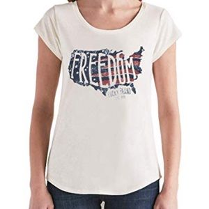 New LUCKY BRAND Patriotic 'Freedom' Graphic Tee-L